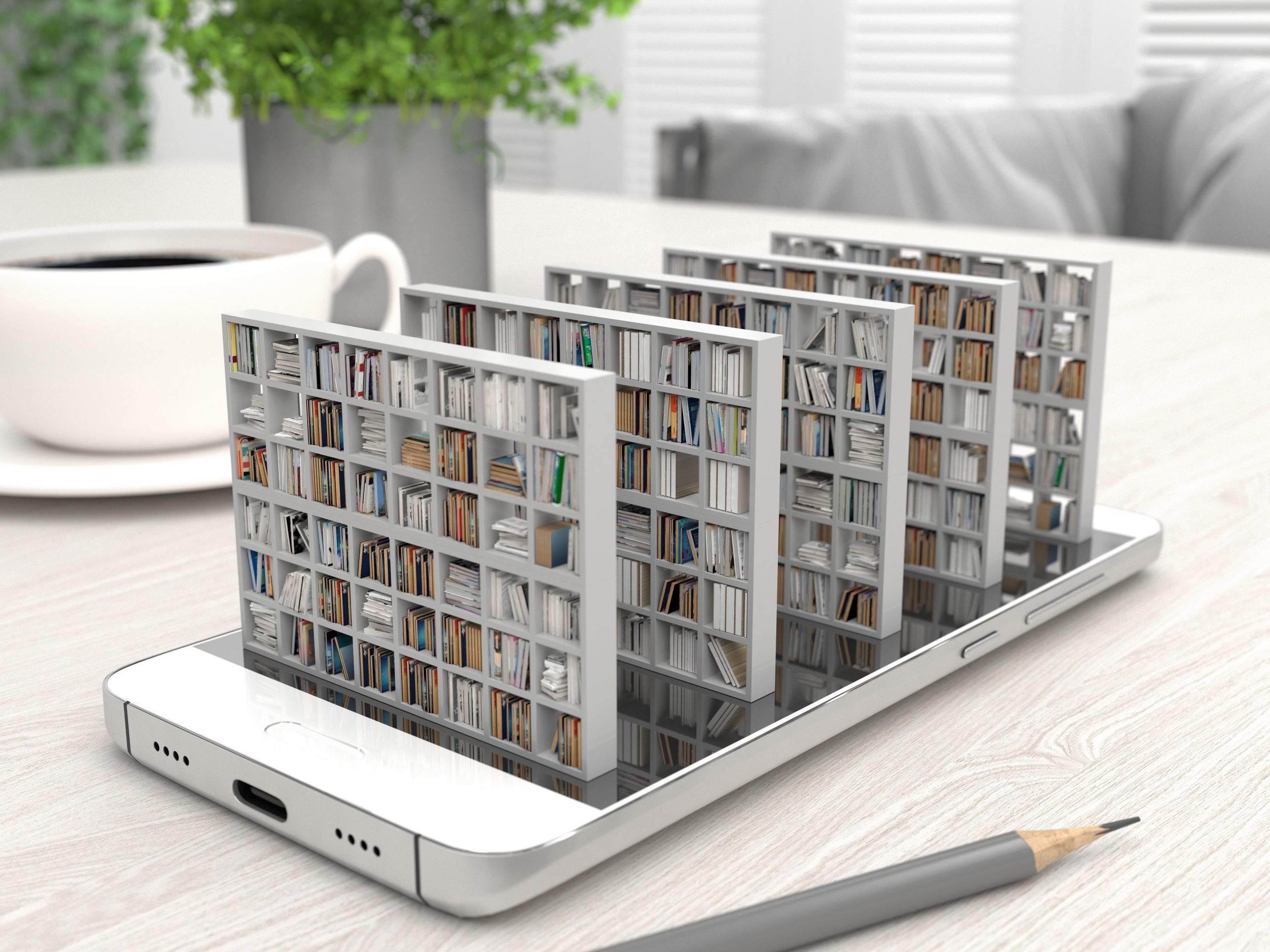 A smartphone with bookshelves showing access to library resources