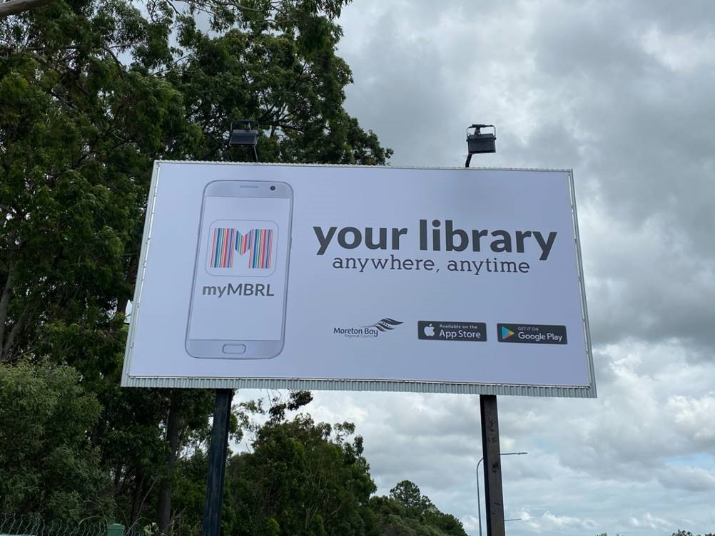 Billboard promoting the library app
