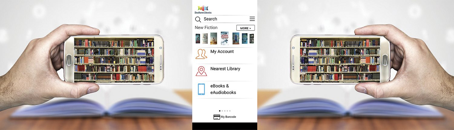 Shoalhave libraries app and smartphones on a book