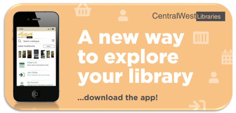 An image of a smartphone showingthe new central west library app